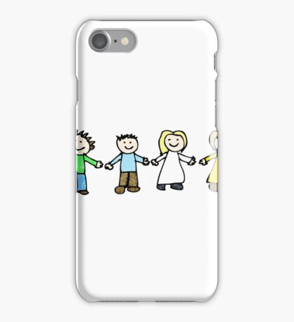 child's drawing of friends holding hands iPhone Case/Skin