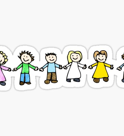 child's drawing of friends holding hands Sticker