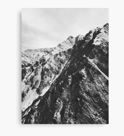 Mountains of Switzerland - Black and White Shot of Snow-Covered Alps Canvas Print