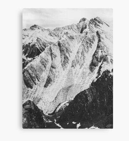 Black and White Shot of Snow-Covered Swiss Alps Canvas Print