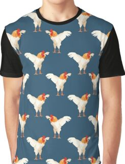 Pattern with white rooster on blue background Graphic T-Shirt