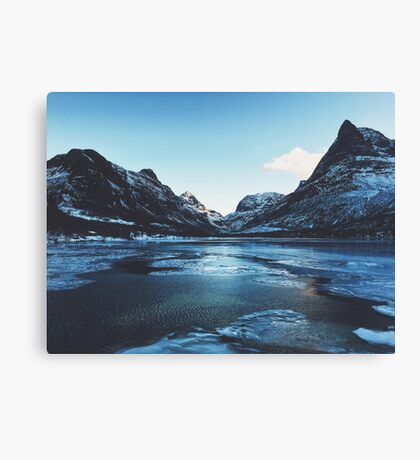 Innerdalen Lake and Mountain Range on Freezing Cold Winter Day (Norway) Canvas Print