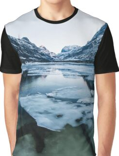 Ice Floating on Innerdalen Lake With Mountain Range on Freezing Winter Day Graphic T-Shirt