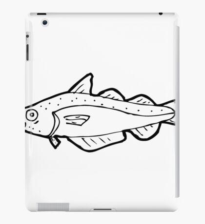 cartoon black and white fish drawing iPad Case/Skin