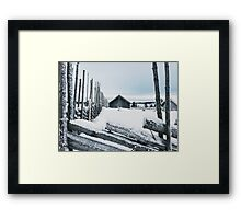 Wooden Fence and Cabin in White Norwegian Winter Landscape Framed Print