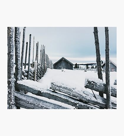 Wooden Fence and Cabin in White Norwegian Winter Landscape Photographic Print