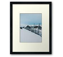 Remote Cabins in White Norwegian Winter Landscape Framed Print