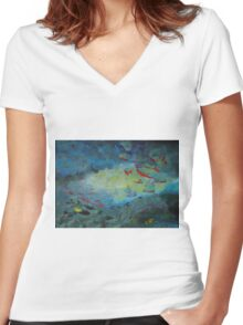 Marine Life Women's Fitted V-Neck T-Shirt