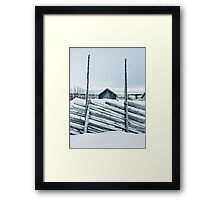 Wooden Fence and Cabin in Beautiful White Norwegian Winter Landscape Framed Print