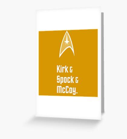 Trek Star Kirk Spock McCoy TOS Enterprise Greeting Card