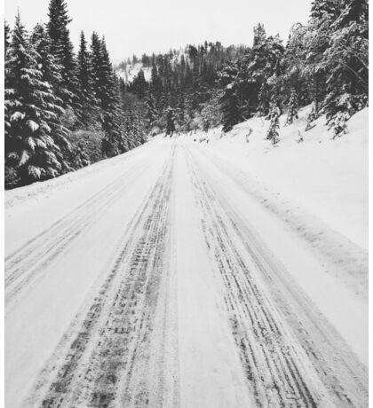 White Winter in Scandinavia - Mountain Road Through Fir Tree Forest Sticker