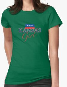 Kansas Girl - Red, White & Blue Graphic Womens Fitted T-Shirt