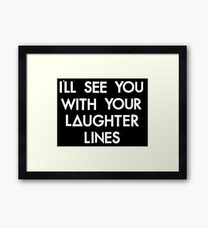 laughter lines (white) Framed Print