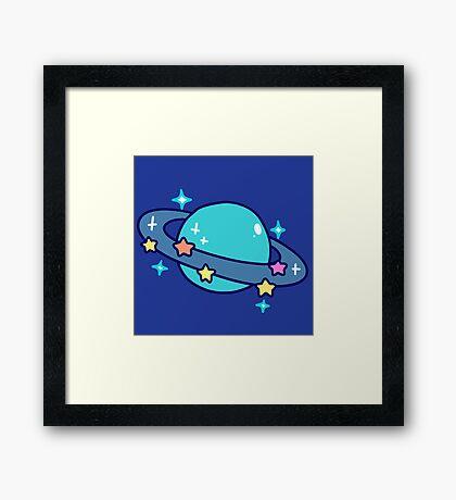 Starry Blue Saturn Framed Print