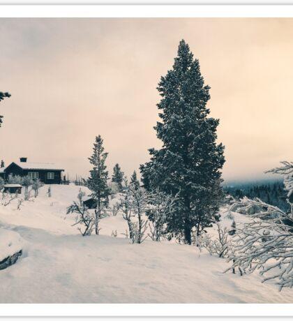 Wintertime - Cabin in Snow-Covered Scandinavian Winter Landscape Sticker