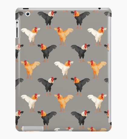 Pattern with multicolored roosters on gray background iPad Case/Skin