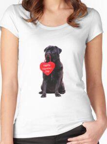 Cute Black Pug Wishing Happy Valentine's Day Heart  Women's Fitted Scoop T-Shirt