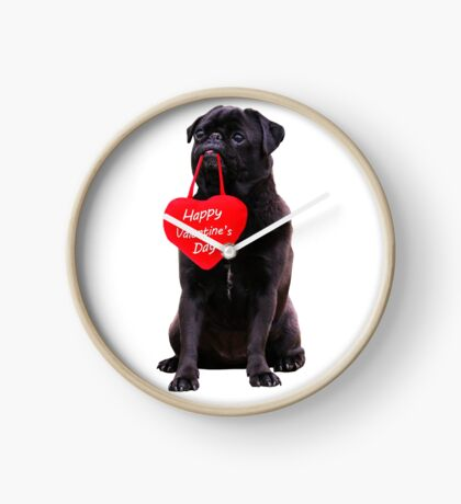 Cute Black Pug Wishing Happy Valentine's Day Heart  Clock