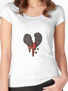 cartoon black heart symbol Women's Fitted Scoop T-Shirt