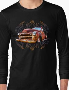 Pinstripe Rust Truck Long Sleeve T-Shirt