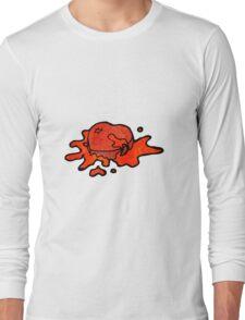 blood splattered heart cartoon Long Sleeve T-Shirt