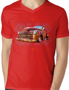 Pinstripe Rust Truck-a Mens V-Neck T-Shirt