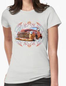 Pinstripe Rust Truck-a Womens Fitted T-Shirt