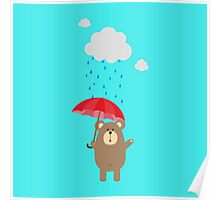 Brown Bear with Umbrella Poster