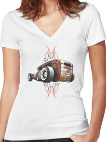Pinstripe RAT - Rear View-a Women's Fitted V-Neck T-Shirt