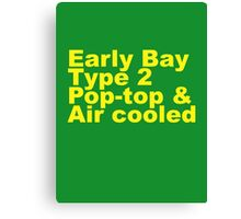 Early Bay Pop Type 2 Pop Top Yellow Canvas Print