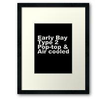 Early Bay Pop Type 2 Pop Top Grey Framed Print