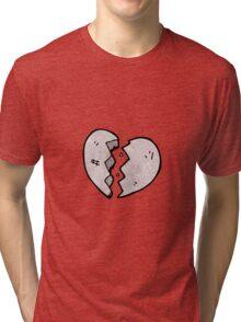 cartoon cracked stone heart Tri-blend T-Shirt