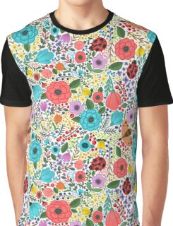 Garden Flowers, Ladybugs Graphic T-Shirt