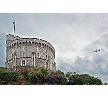 Airplane flies along Windsor Castle - England Photographic Print