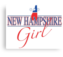New Hampshire Girl - Red, White & Blue Graphic Canvas Print