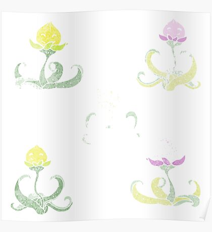 watercolour flower cartoon characters Poster