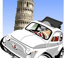 Classic Fiat 500 in Pisa caricature by car2oonz