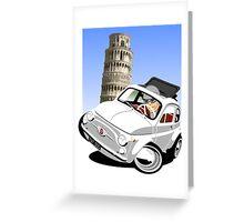 Classic Fiat 500 in Pisa caricature Greeting Card