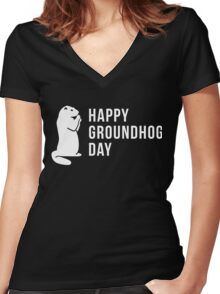 It's Groundhog Day Happy Little Groundhog Women's Fitted V-Neck T-Shirt