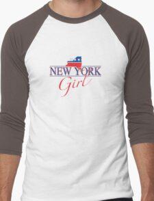 New York Girl - Red, White & Blue Graphic Men's Baseball ¾ T-Shirt