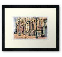 Streets of Old New York City Watercolor Framed Print