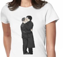 KISSING SHERLOCK AND JOHN Womens Fitted T-Shirt