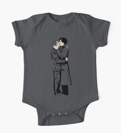 KISSING SHERLOCK AND JOHN in grey One Piece - Short Sleeve