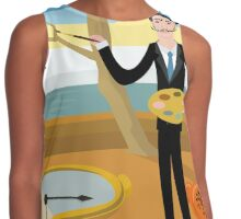 surrealist painter on watches and clocks oniric background landscape Contrast Tank