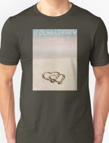 Two hearts drawn in the sand on a beautiful beach T-Shirt