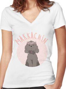 Makkachin Pink Design (Red Outline) Women's Fitted V-Neck T-Shirt