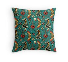 Turquiose Moth and Snake Pattern Throw Pillow