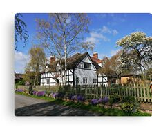 Flowers underline English Cottage Canvas Print
