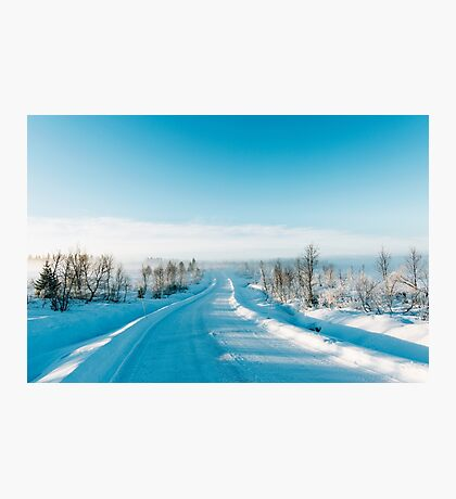 Blue Scandinavian Winter Landscape With Mysterious Fog on Sunny Cold Day Photographic Print