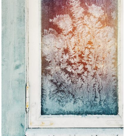 Wintertime - Closeup of Ice Crystals in Old Window Sticker